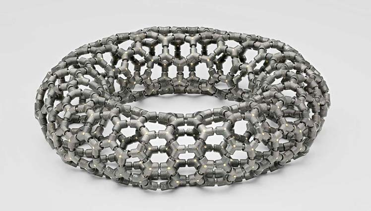 Ezra Satok-Wolman of Caledon, Ont., took second place in the alternative metals/materials category for his 'The Torus Bracelet for an Astronaut' design.