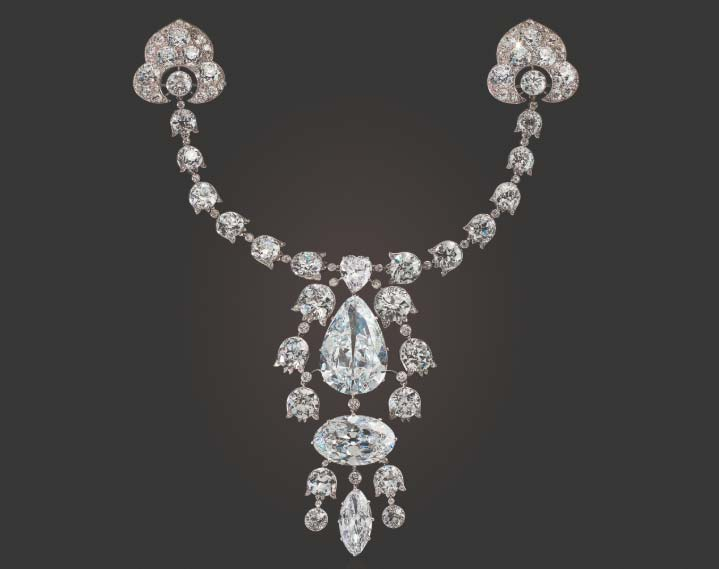 Cartier's icy Belle Époque devant-de-corsage, circa 1912, sold for US$10,603,500 at Christie's Maharajas & Mughal Magnificence auction.