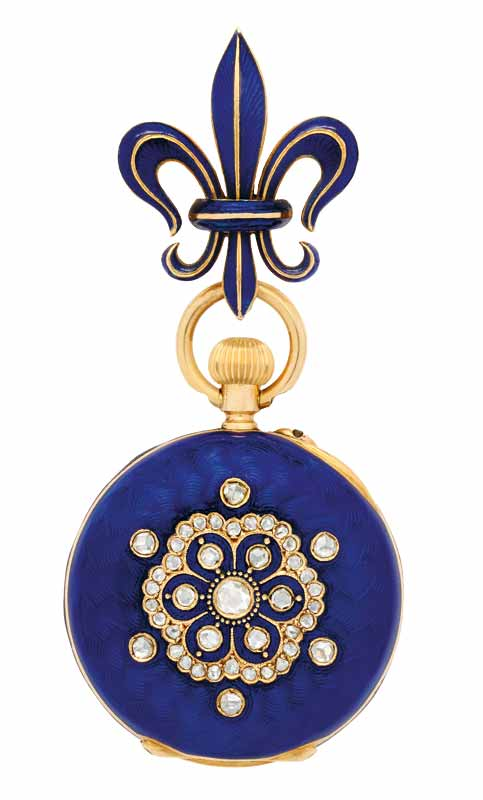 Antique (circa 1900) enamel, diamond, and gold lapel watch with gilt jewelled lever movement, cobalt blue enamel case with rose-cut diamond floral motif, and cream dial suspended from cobalt blue enamel fleur-de-lis brooch.