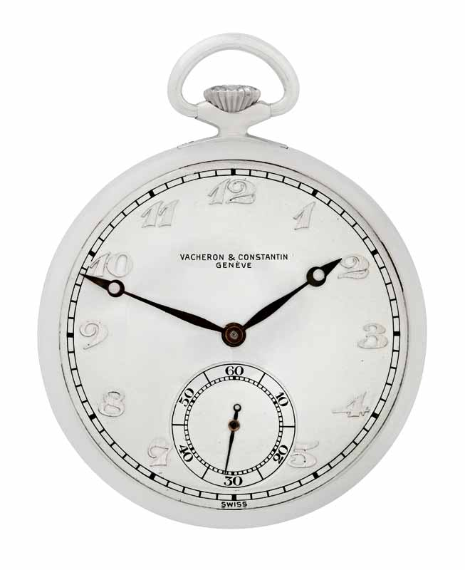 Rare aluminum presentation pocket watch by Vacheron Constantin featuring 17 jewels, aluminum lever movement, open-face case, silvered dial with applied aluminum Arabic numerals, and subsidiary seconds. Circa 1946.