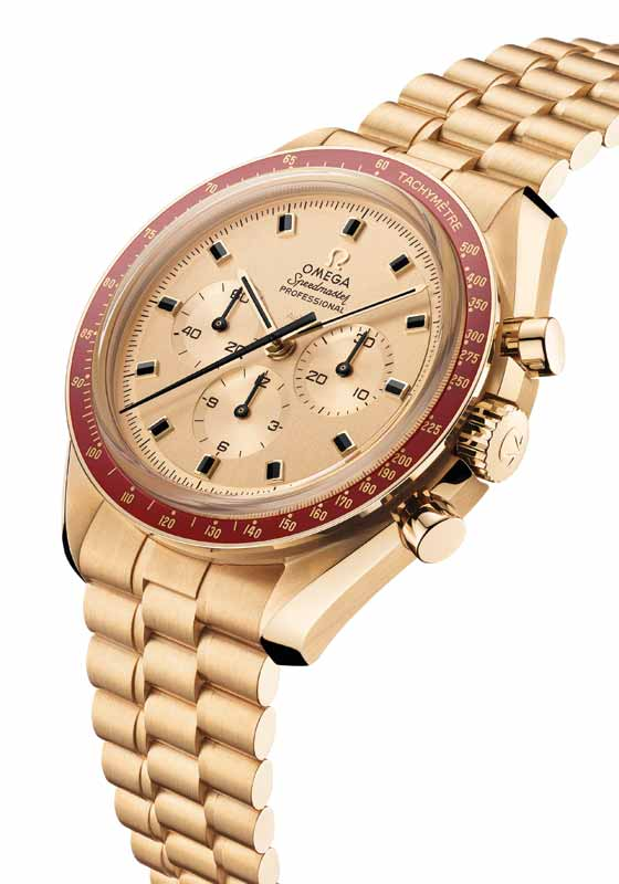 'Speedmaster 50th Limited Edition Apollo' watch by Omega in gold, featuring ceramic burgundy bezel with tachymeter scale. Photo courtesy Omega