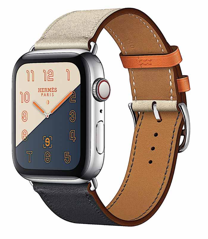 Apple Watch Hermès Series 4, featuring stainless steel case and indigo/craie/orange Hermès leather band. Photo courtesy Apple, Inc.
