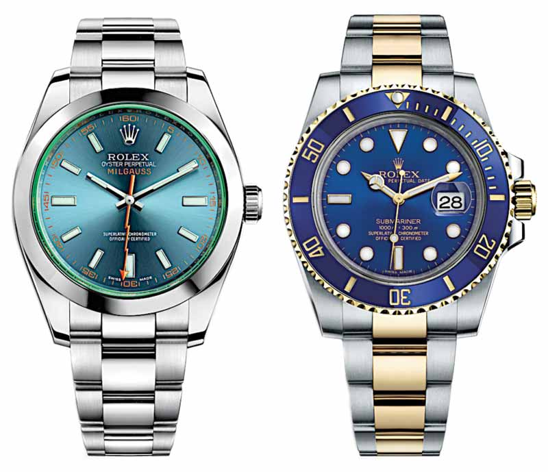 'Oyster Milgauss Blue' by Rolex featuring green sapphire glass face and Oyster steel bracelet (right) and 'Submariner Blue' by Rolex featuring Oyster steel and 18-karat gold bracelet. Photos courtesy Rolex