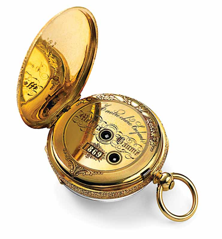 Vintage Baume & Co. 'Toubillon Chronometer' pocket watch in 18-karat gold, circa 1869. Created as a gift for Melina Baume's first communion.  Photo courtesy Baume & Mercier London archives, Compagnie Financière Richemont SA