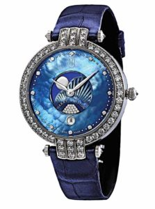 'Premier Moon Phase' ladies' timepiece by Harry Winston in 18-karat white gold featuring blue mother-of-pearl dial with diamond hour markers (0.08 ctw), 104 brilliant-cut diamonds (2.58 ctw) on the bezel, and blue alligator leather strap. Photo courtesy Swatch Group, Ltd.
