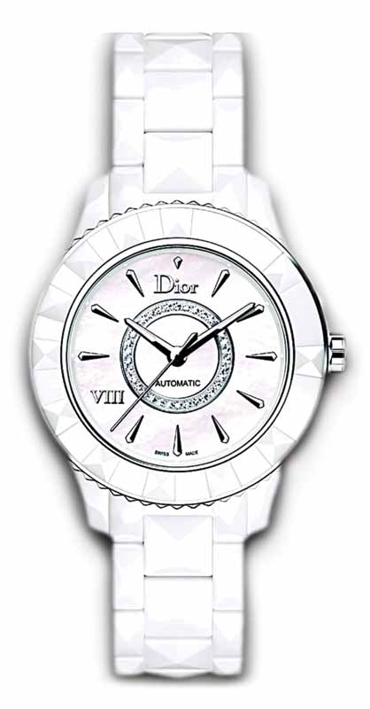 'Dior VIII' timepiece by Christian Dior with white ceramic over stainless steel case, opaline silver dial, and white ceramic bracelet. Photo courtesy Christian Dior SE/LVMH Moët Hennessy – Louis Vuitton SE