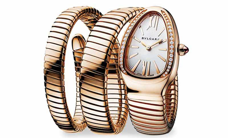 'Serpenti Spiga' single spiral watch in 18-karat yellow gold and diamonds by Bvlgari. Photo courtesy Bvlgari