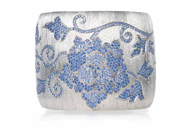 Titanium flower bracelet with blue sapphires (11.03 ctw) by VTse.