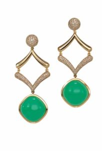 Emerald earrings by VTse featuring round diamond accents.