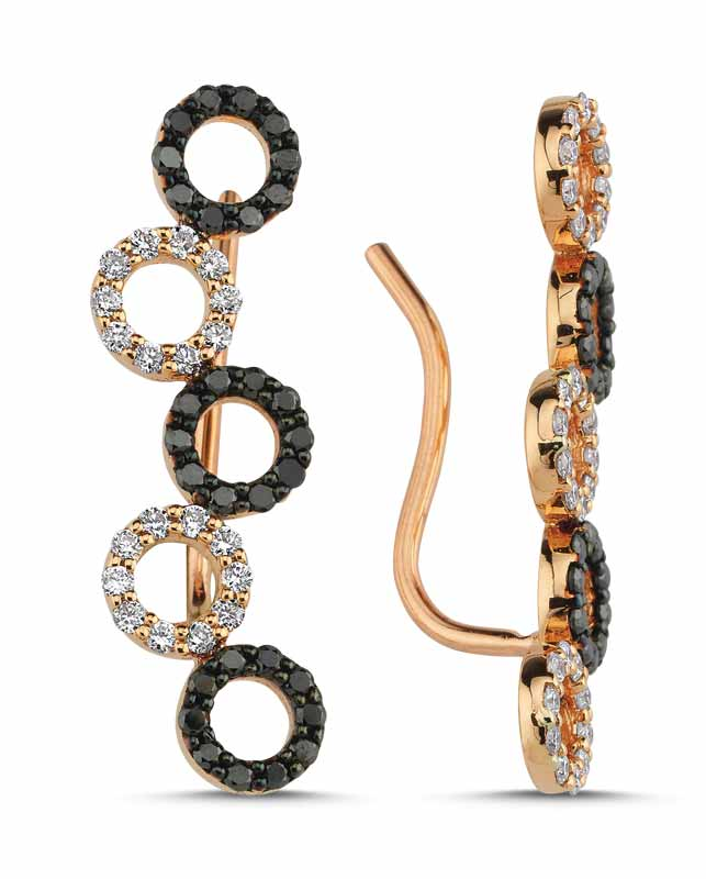 14-karat rose gold and black rhodium-plated 'Geometric Cluster Ear Climbers' from OWN Your Story's 'Geometric' collection, featuring 0.25-carat white diamond and 0.27-carat black diamond pave and French wire snug backing.
