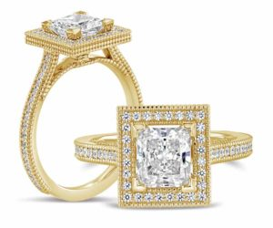 14-karat yellow gold square halo ring by Aurick Jewelers, photographed with a 1-carat princess-cut centre stone. Shank and halo adorned with 62 round 1-mm diamonds.