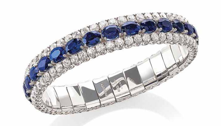 18-karat white gold bracelet from Picchiotti's 'Xpandable' collection, featuring 14.79 carats of diamonds and 24.05 carats of sapphire.