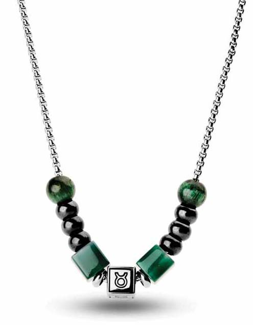 Stainless steel necklace from Brosway's 'TJ Man' collection featuring customizable astrological symbol bead and green agate stones.