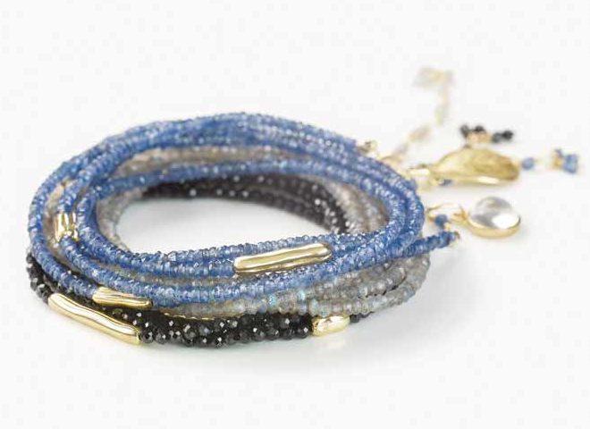 Beaded wrap bracelets by Anne Sportun.