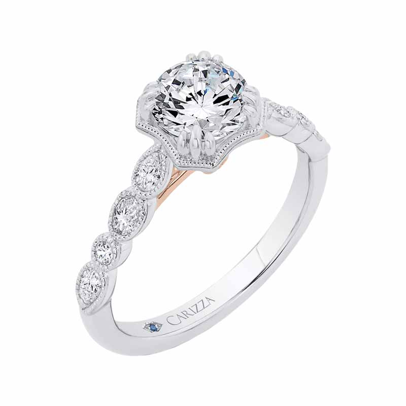 Semi-mount 14-karat two-tone gold engagement ring from Empress Luxury's Carizza bridal line, set with 0.27 carats of diamonds.