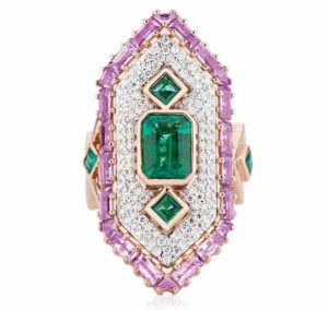 Set with emeralds, purple sapphires, and diamonds, this 18-karat rose and white gold 'Cleopatra Ring' by Gigi Ferranti received the 2018 American Gem Trade Association (AGTA) Gem Diva award for evening wear.
