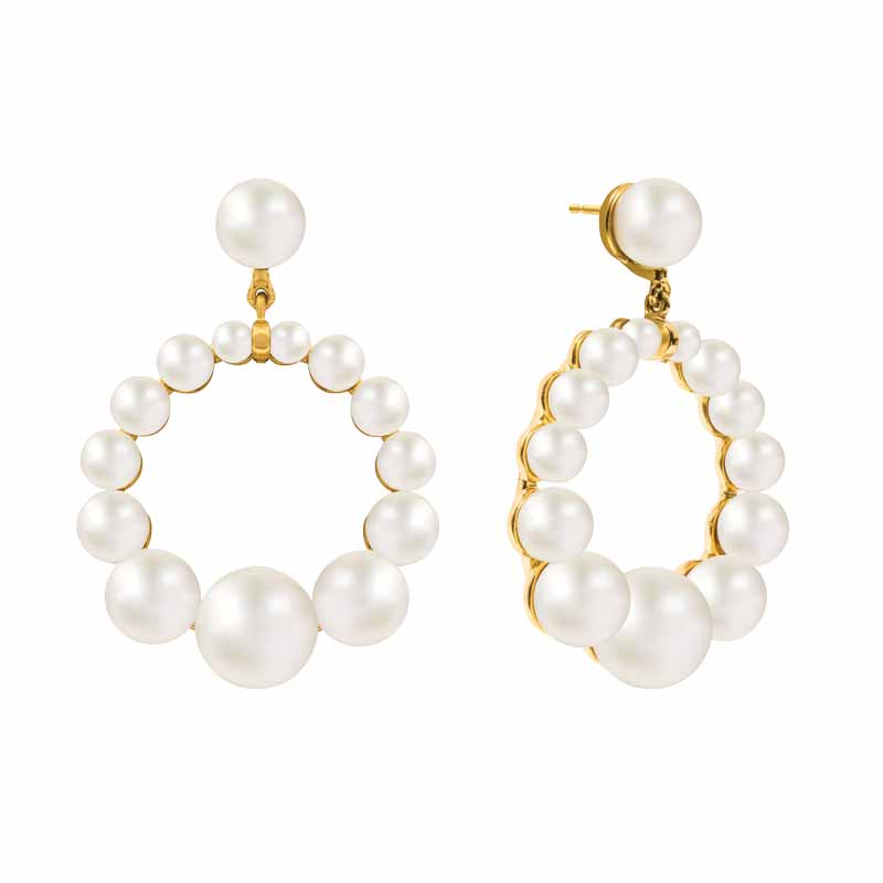 Yellow gold vermeil 'Olivia Earring' by Nishi Pearls featuring round, white cultured freshwater pearls.