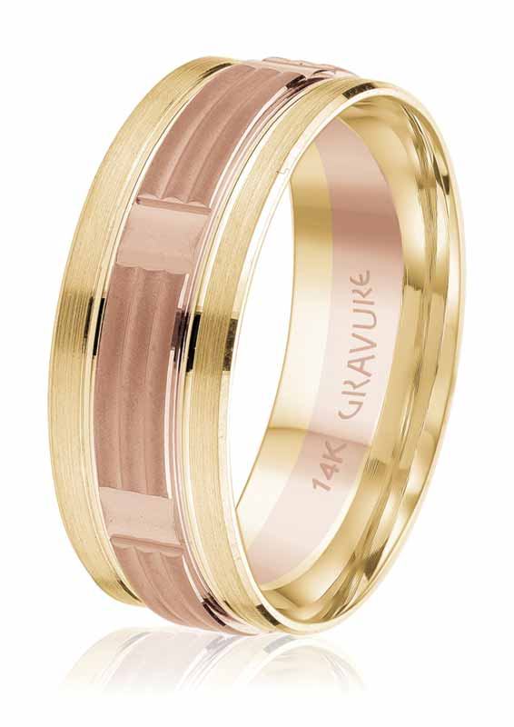 Rose and yellow gold wedding band from the 'Iconic' collection by Gravure Commitment/Atlantic Engraving.