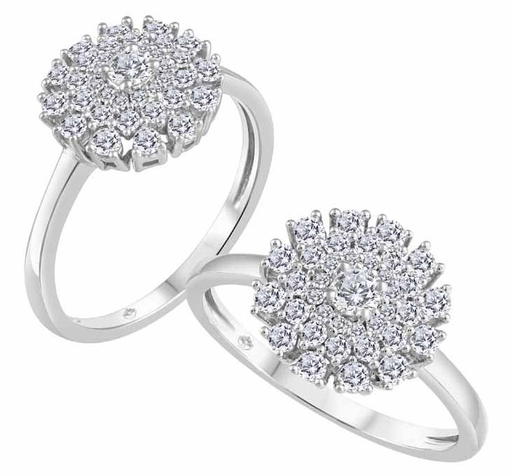 10-karat gold ring with 0.08-carat Canadian diamond centre stone from Beverly Hills Jewellers' 'Fire and Ice' brand.
