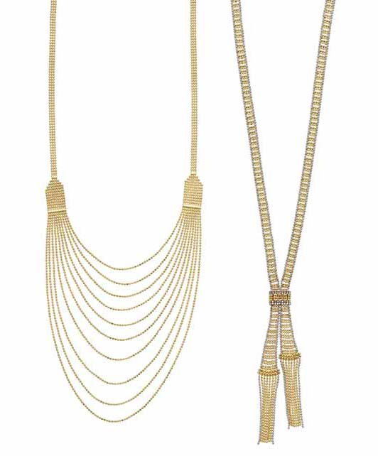14-karat gold diamond-cut multi-strand bead necklace with lobster clasp from Royal Chain's 'Gold Book' collection.
