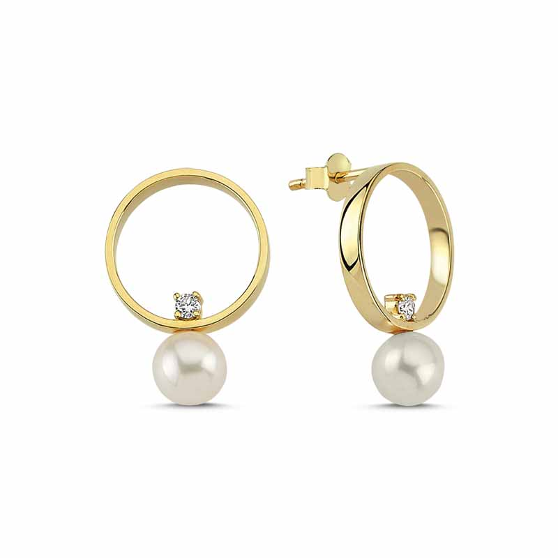 14-karat gold earrings with inversely positioned pearls and 0.12-carat diamond accents from OWN Your Story's Neo Pearl Collection.
