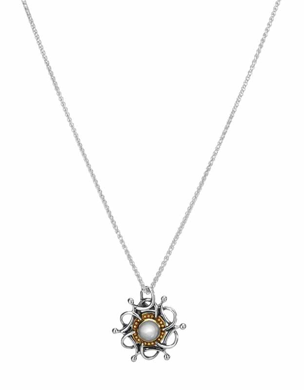 Sterling silver necklace with 10-karat yellow gold and white topaz pendant from Keith Jack Jewellery's 'Tempest' collection.