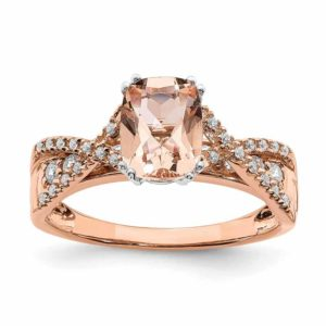 14-karat rose gold morganite diamond engagement ring. This piece can be personalized with choice of gold colour and centre stone.