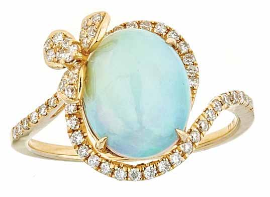 18-karat yellow gold ring by Cirari featuring a 2.28-carat opal centre stone and round diamonds.