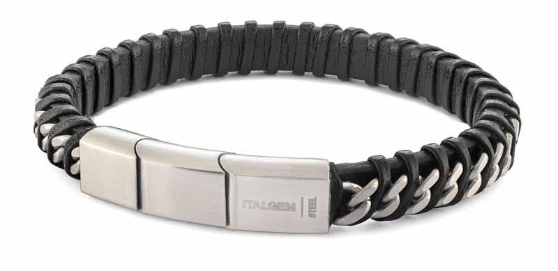 Stainless steel curb link black leather twisted design bracelet from Italgem Steel.