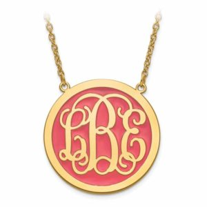 Gold-plated sterling silver solid enameled monogram circle pendant with chain.