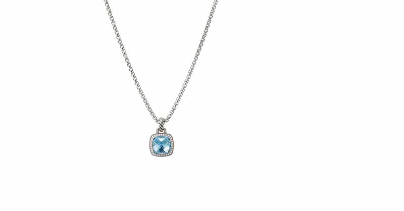 David Yurman Albion pendant in sterling silver with faceted blue topaz and diamonds.