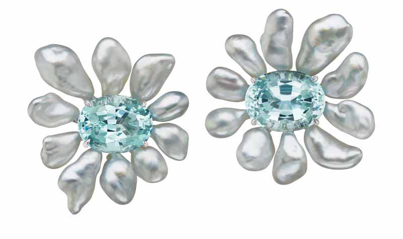 Flower earrings by Assael with keshi pearls and 16.5-carat aquamarine stones, set in 18-karat white gold. Featured at this year's Couture show.