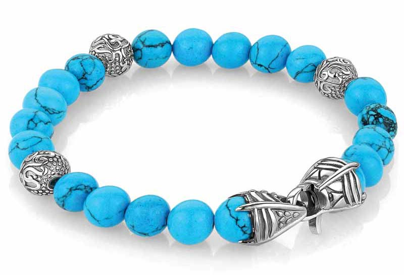 'Oceano' stainless steel bracelet with turquoise beads by Italgem Steel.