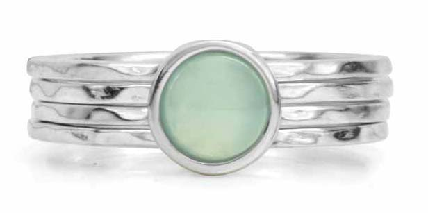 Sterling silver 'Still' free-floating ring with blue chalcedony stone by MeditationRings.