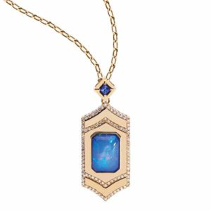 A 14-karat yellow gold locket and mirror pendant by Gigi Ferranti featuring an 8.75-carat Ethiopian opal centre stone and surrounded by brilliant diamonds.