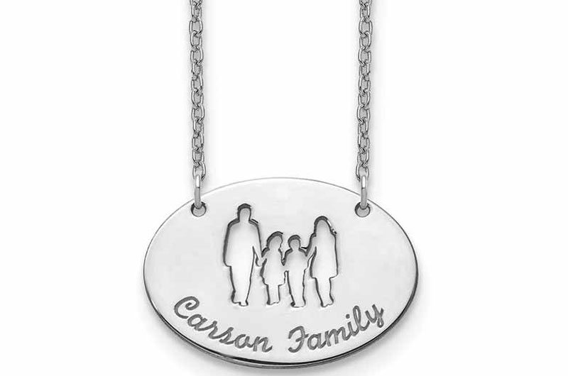 "Personalized sterling silver rhodium-plated cut-out silhouette necklace with family name.<br /> <span style=""font-size: 10pt; font-family: arial, helvetica, sans-serif;""><i>Photos courtesy Quality Gold</i></span>"