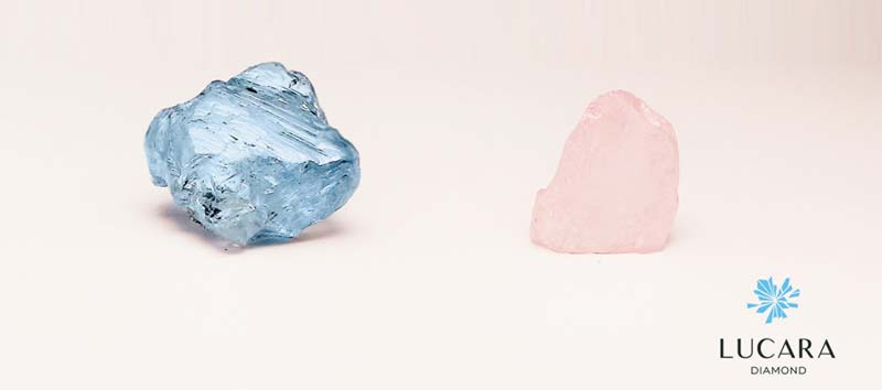 A 9.74-carat blue diamond and a 4.13-carat pink diamond have been found in Lucara Diamond's Karowe Mine in Botswana.
