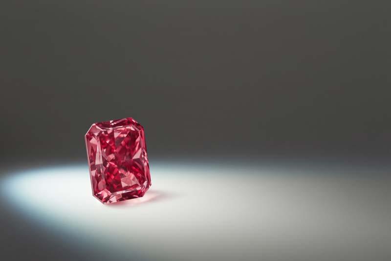 1.75-carat modified radiant fancy red 'Argyle Enigma' diamond.  Photos courtesy Rio Tinto