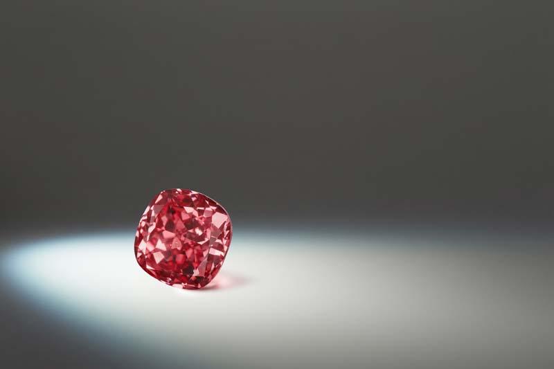 1.20-carat modified fancy vivid pink 'Argyle Elysian' cushion diamond.