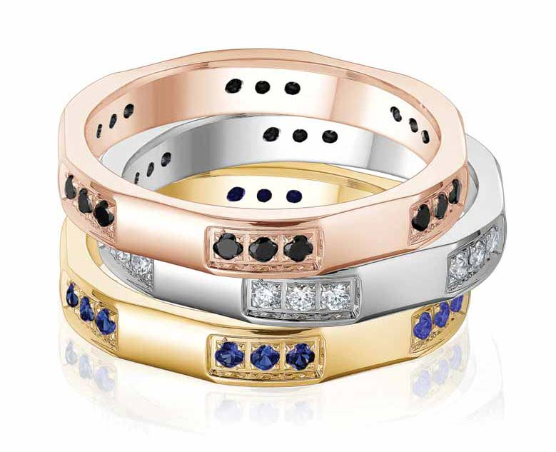 Stackable rings by Gravure Commitment/Atlantic Engraving. Available in 10-, 14-, or 18-karat yellow, white, or rose gold, as well as platinum, palladium, or sterling silver.