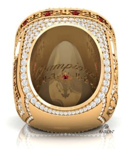 The inside of the ring features personalized messages unique to each player, a ruby set inside a maple leaf, and the championship series scores.