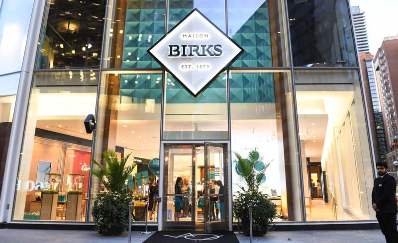 Birks' Toronto flagship store, located at the corner of Bay and Bloor Streets.