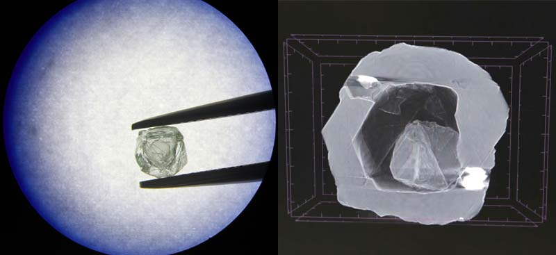 Alrosa's matryoshka diamond discovery weighs just 0.62 carats. On the right is an X-ray image of the stone.