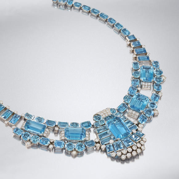 An art deco aquamarine and diamond necklace by Cartier (circa 1940) is expected to fetch £100,000 to 150,000 (C$170,000 to $260,000) at Bonhams London Jewels.