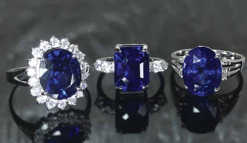 Selection of large HPHT-treated sapphires, mounted in rings. Photos courtesy GRS Laboratories