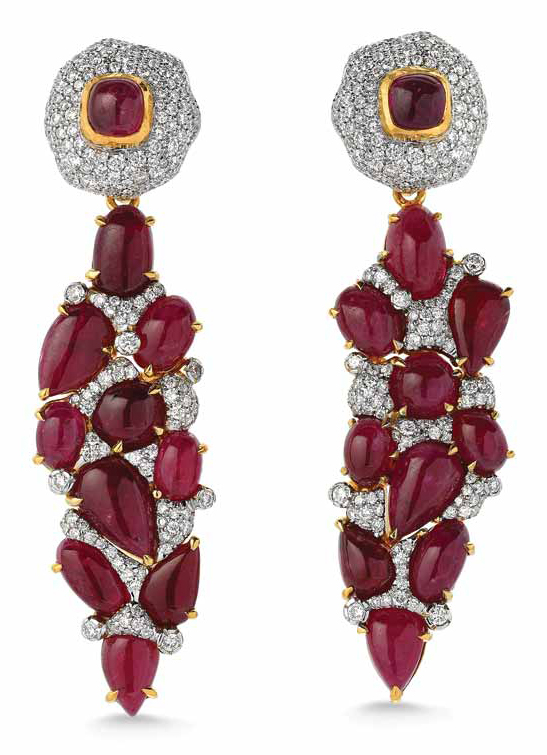 Greenland ruby and diamond earrings by Victor Velyan. Photo courtesy Victor Velyan