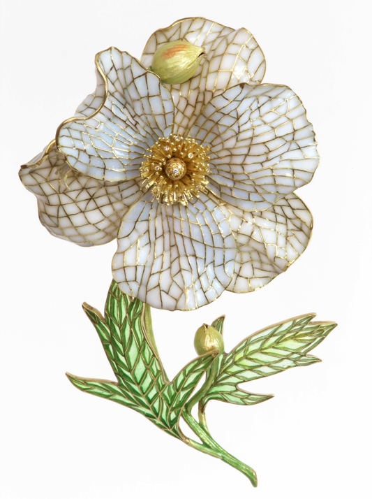 A gold and plique-a-jour enamel Poppy brooch by conference speaker, Tom Herman/Seven Fingers and Patsy Croft.