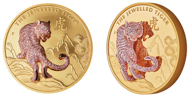 The Perth Mint's Jewelled Tiger coin features fancy vivid intense pink diamonds (3.0 ctw), unearthed from Rio Tinto's Argyle mine.