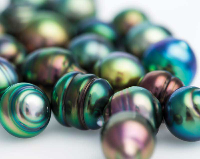 Tahitian pearls displaying nice overtones and iridescence.