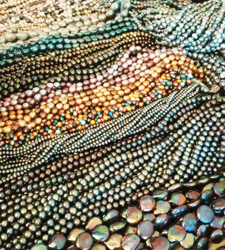 Dyed, cultured freshwater pearls are available in many different shapes and colours.